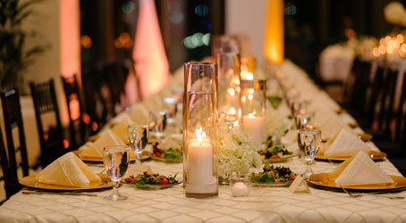 Long table set up at a wedding reception