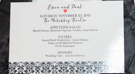 ep wedding menu card